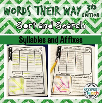 Words Their Way - 3rd Edition - Syllables and Affixes Sort and Search