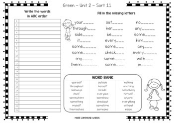 Words Their Way - ABC Order & Missing Letters - Red, Yellow, Green, Blue