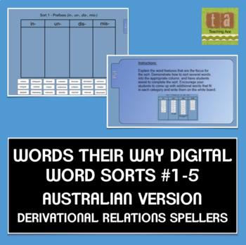 Words Their Way AUSTRALIAN Sorts #1-5 Smartboard Derivational Relations FREEBIE