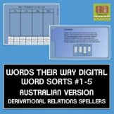 Words Their Way Digital Sorts #1-5 AUSTRALIAN Derivational Relations FREE