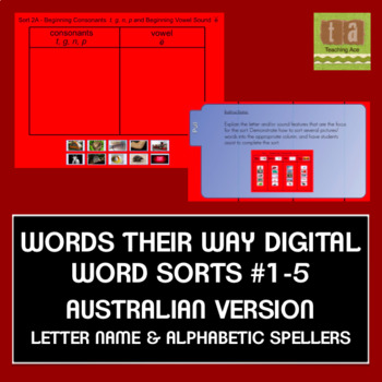 Words Their Way AUSTRALIAN Sorts #1-5 Smartboard -Letter Name/Alphabetic FREEBIE