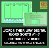 Words Their Way Digital Sorts #1-5 AUSTRALIAN Syllables & Affixes FREE