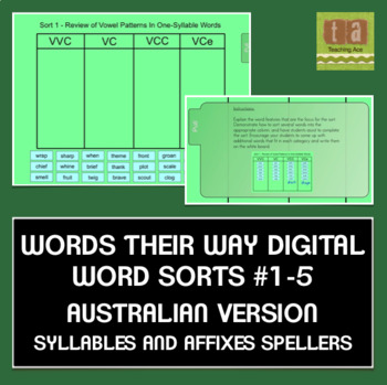 Words Their Way AUSTRALIAN Sorts #1-5 Smartboard - Syllabl