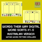 Words Their Way Digital Sorts #1-5 AUSTRALIAN - Within Word Pattern FREE