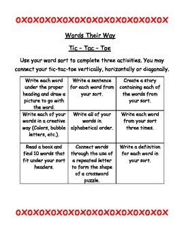 Words Their Way Activities