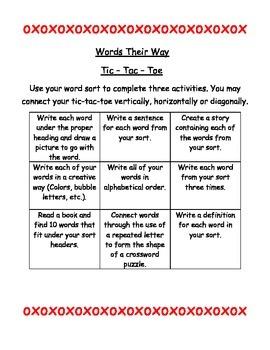 Words Their Way Activities