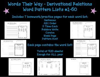 Words Their Way Homework - Derivational Relations #1-60 (Blue Book)