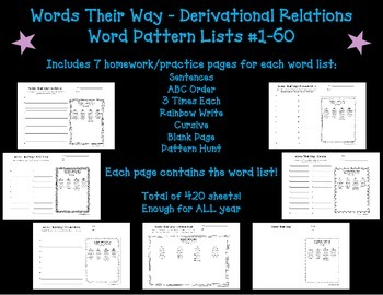 Words Their Way Homework - Derivational Relations #1-60 (B