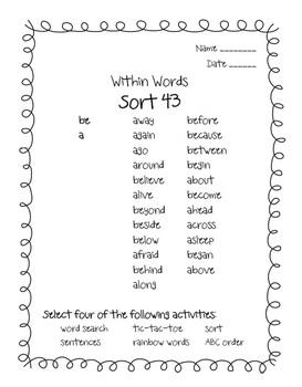 Words Their Way Alphabetic Sorts BUNDLE