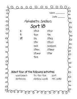 Words Their Way Alphabetic Spellers Sorts 18 - 26