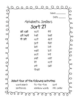 Words Their Way Alphabetic Spellers Sorts 27 - 33
