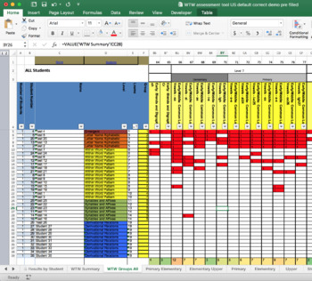 Words Their Way Automatic Inventory Marking Spreadsheet - US UPPER TEST ONLY