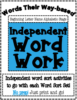 Words Their Way Based Independent Word Work-Beginning Letter Name Alphabetic