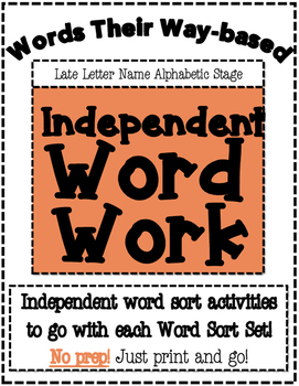 Words Their Way Based Independent Word Work-Late Letter Name Alphabetic