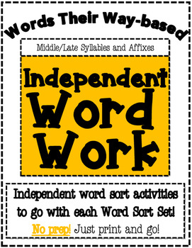 Words Their Way Based Independent Word Work-Middle/Late Syllables and Affixes