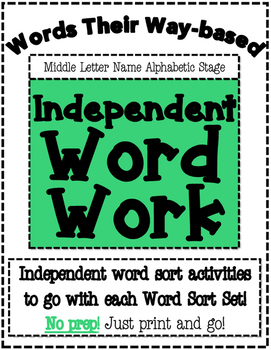 Words Their Way Based Independent Word Work-Middle Letter