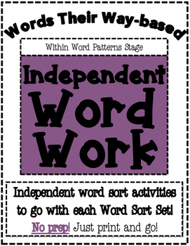 Words Their Way Based Independent Word Work-Within Word Patterns Stage
