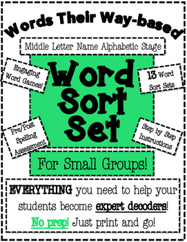 Words Their Way Based Word Sort Set-Middle Letter Name Alphabetic