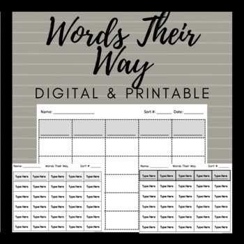 Words Their Way Blank Word Sort Template EDITABLE by Jamie Lipowski