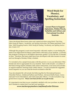 Words Their Way:  Complete Derivational Relations Stage Lesson Plans