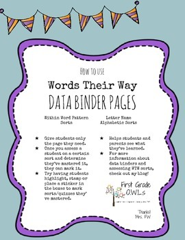 Words Their Way Data Binder Pages