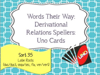 Words Their Way: Derivational Relations: Sort 35: Latin Roots