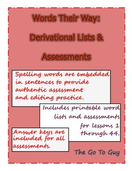 Words Their Way:  Derivational Assessments and Word Lists (Two Weeks Free)