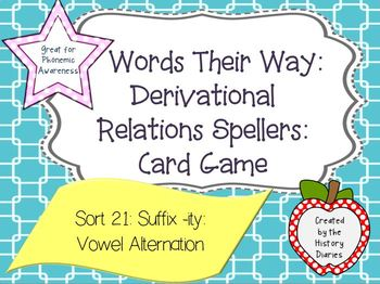 Words Their Way: Derivational Relations:Sort 21:Adding Suffix -ity:Schwa - Short