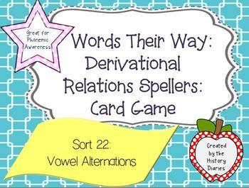 Words Their Way: Derivational Relations:Sort 22:Vowel Alt: Long, Short, & Schwa