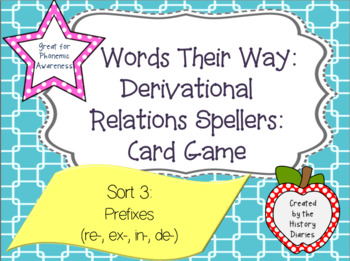 Words Their Way: Derivational Relations:Sort 3:Prefixes (re-, ex-, in-, de-)