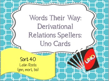 Words Their Way:Derivational Relations:Sort 40: Latin Root