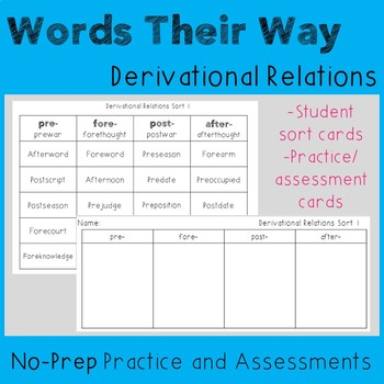 Words Their Way Derivational Relations Sorting Cards and Assessments