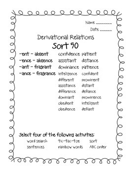 Words Their Way Derivational Relations Sorts 50-60