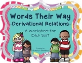 Words Their Way - Derivational Relations Spellers - A Worksheet for Sorts 1 - 50