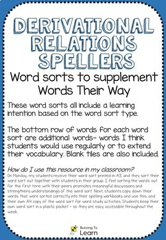 Words Their Way - Derivational Relations Spellers Word Sorts