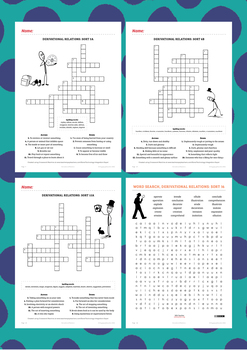 Words Their Way Derivational Relations Spelling Crosswords & Wordsearches 1-60
