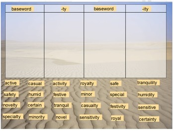 Words Their Way Derivational Relations sort10 flipchart.