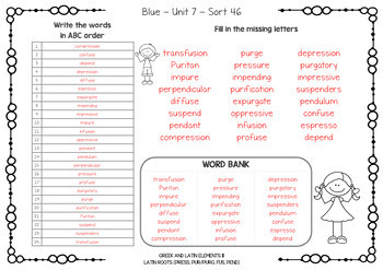 Words Their Way - Derivational Spellers - ABC & Missing Letters - Sorts 1-60