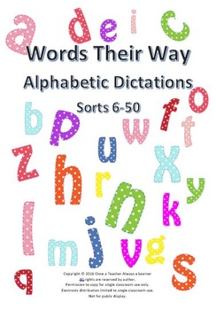 Words Their Way Dictation Sentences for Alphabetic Spellers