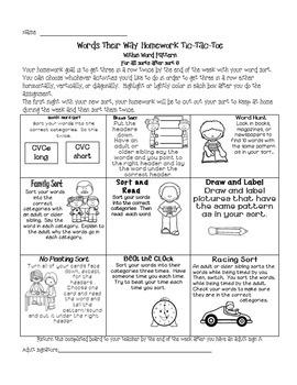 Word Study Individualized Homework