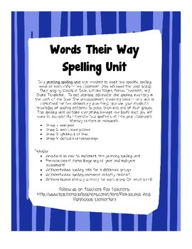 Words Their Way Differentiated Spelling Units All Year Homework Literacy Sorts