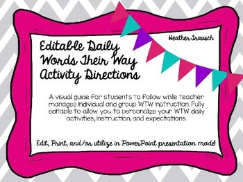 Words Their Way Editable Daily Student/Group Directions