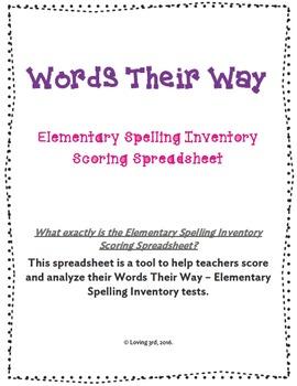 Words Their Way - Elementary Spelling Inventory Scoring Spreadsheet