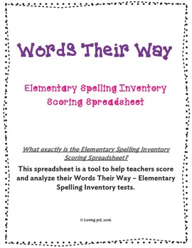 Words Their Way - Elementary Spelling Inventory Scoring Spreadsheet