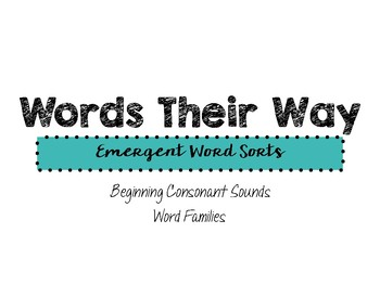Words Their Way: Emergent Reader Word Sorts