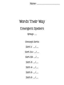 Words Their Way - Emergent Speller - Sorts 1-6 {sort book}