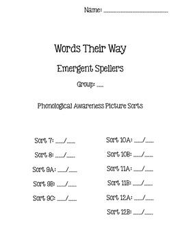 Words Their Way - Emergent Speller - Sorts 7-12B {sort book}