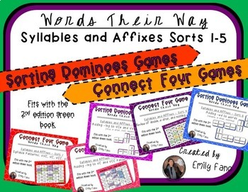 Words Their Way - GAME BUNDLE - Syllables and Affixes - Sorts 1 - 5