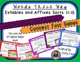 Words Their Way - GAME BUNDLE - Syllables and Affixes - Sorts 11 - 15