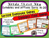 Words Their Way - GAME BUNDLE - Syllables and Affixes - Sorts 16 - 20